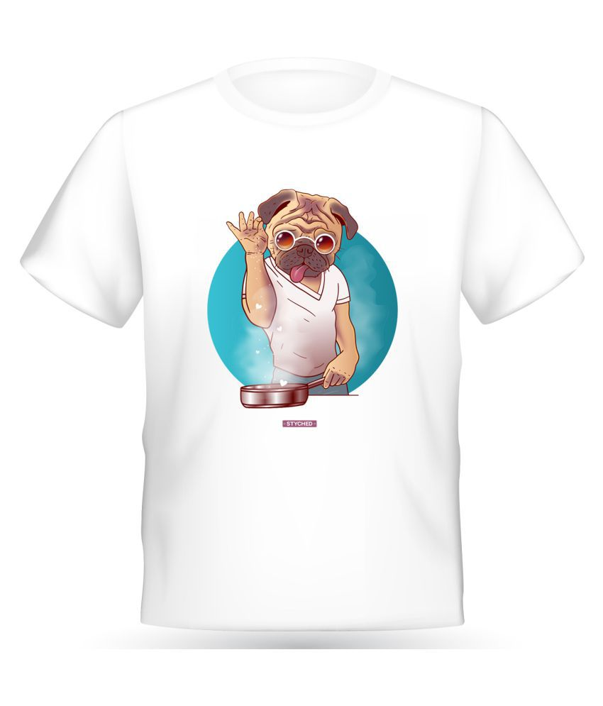 Styched White Half Sleeve T-Shirt