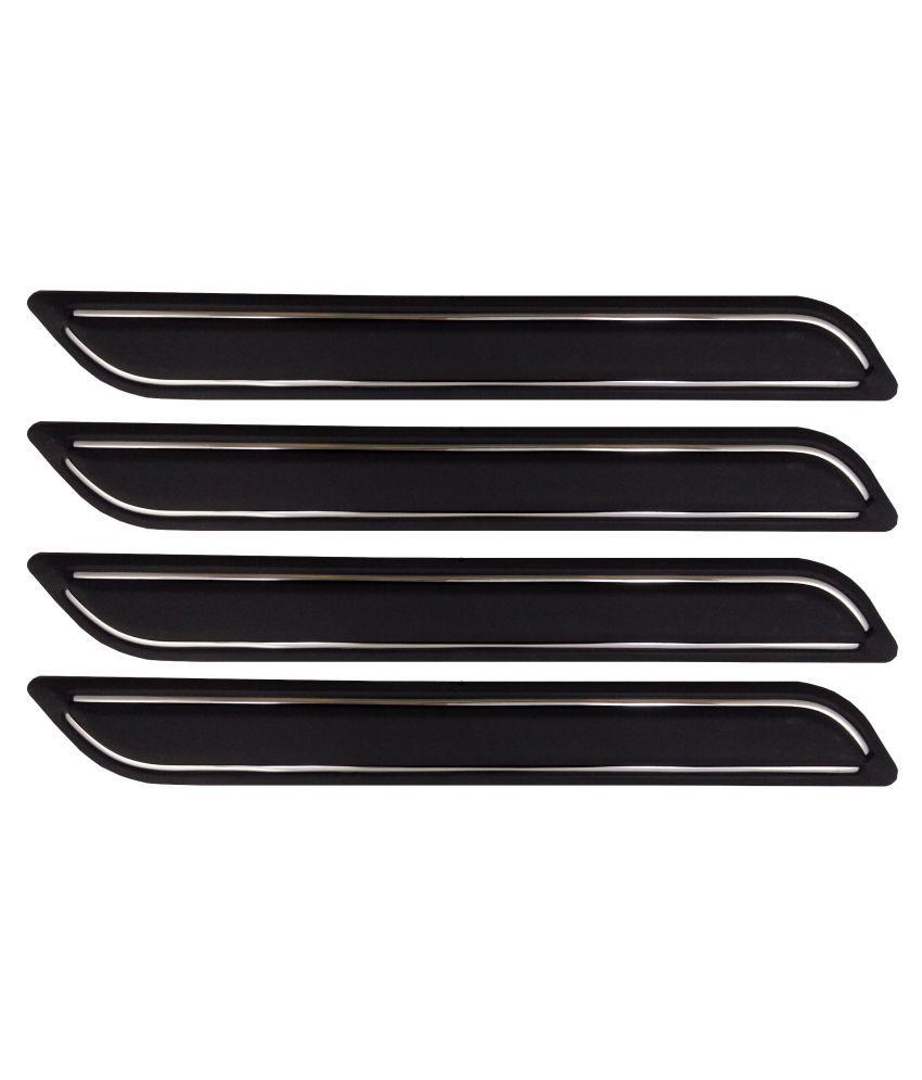 Ek Retail Shop Car Bumper Protector Guard with Double Chrome Strip (Light Weight) for Car 4 Pcs  Black for FordAspire1.5TDCiTitanium