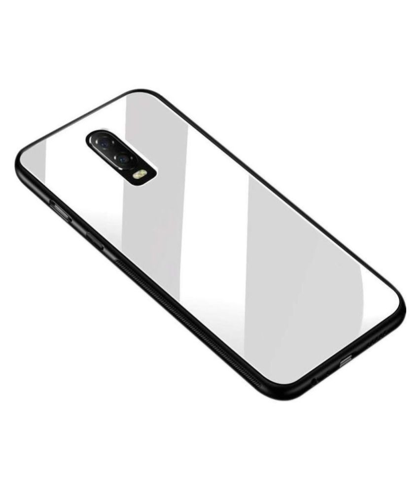 OnePlus 6T Glass Cover Mobilive - White Luxurious Toughened Glass Cover | TPU Bumper