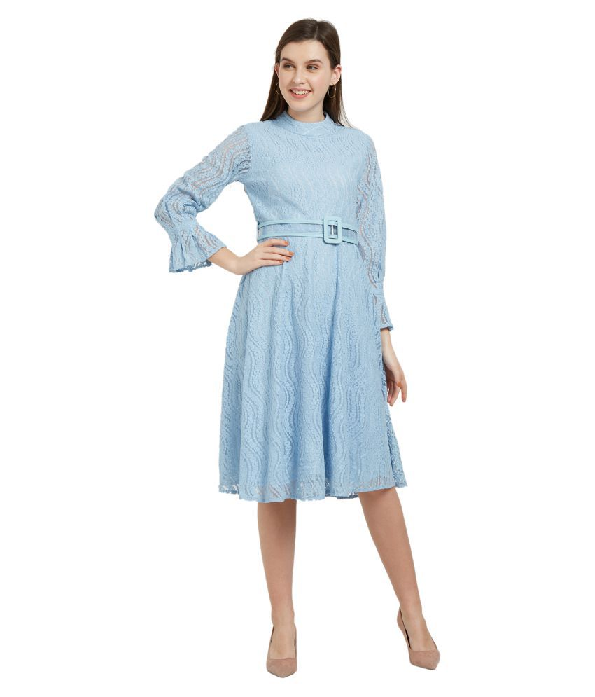 Soie Cotton Blue Fit And Flare Dress