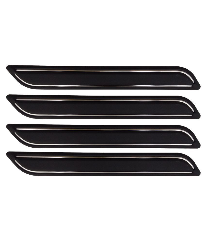Ek Retail Shop Car Bumper Protector Guard with Double Chrome Strip (Light Weight) for Car 4 Pcs  Black for FordEcoSportAmbiente1.5LTDCi