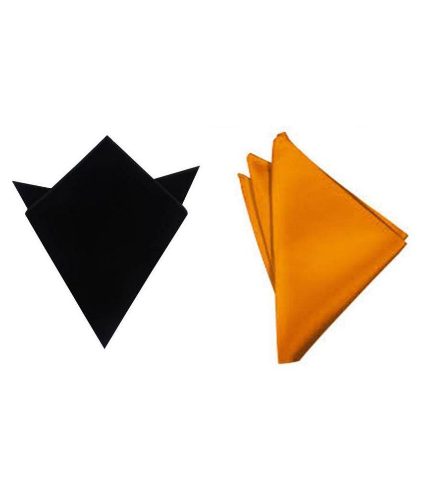 Voici France Black and Orange satin Solid Pocket Square Combo Pack of 2