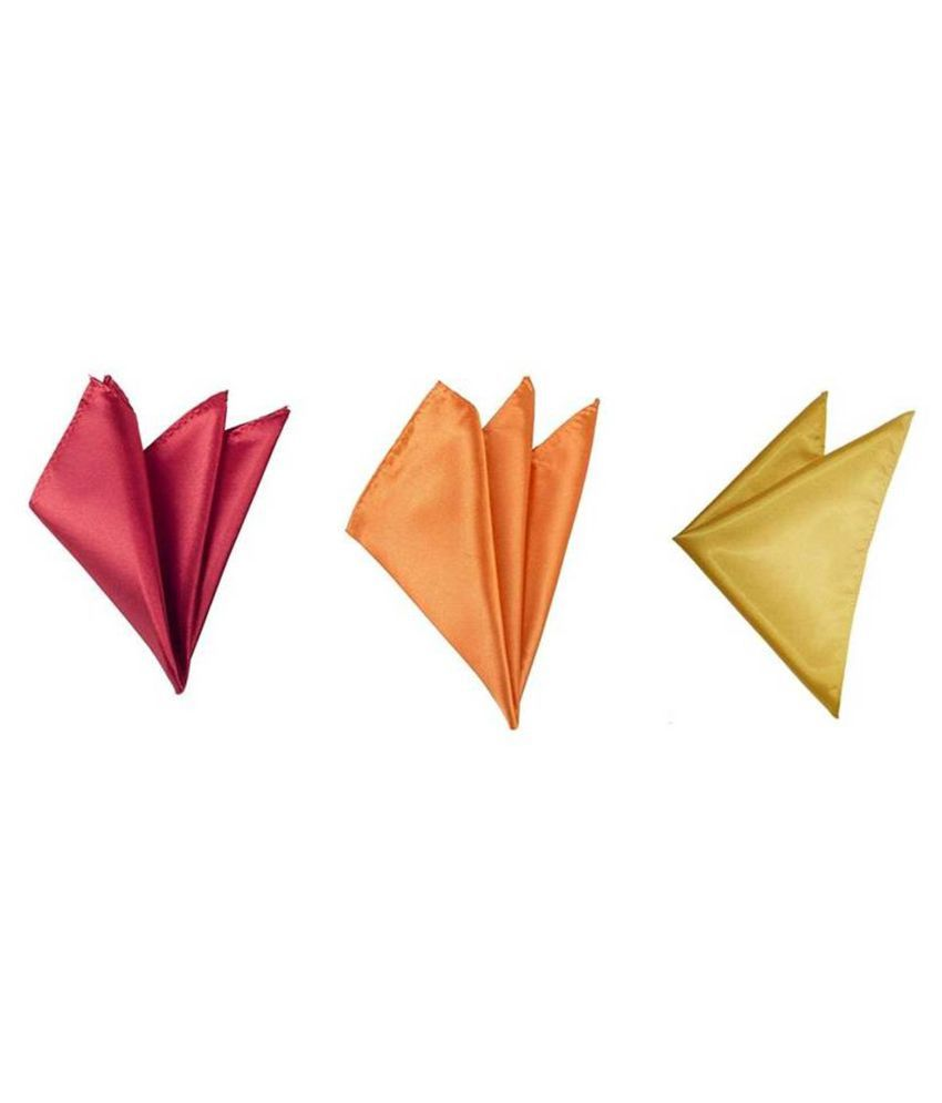 Voici France Maroon, Orange and Gold satin Solid Pocket Square Combo Pack of 3