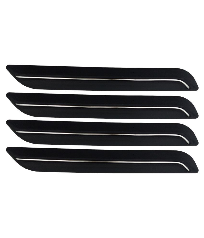 Ek Retail Shop Car Bumper Protector Guard with Single Chrome Strip (Light Weight) for Car 4 Pcs  Black for TataNanoXT