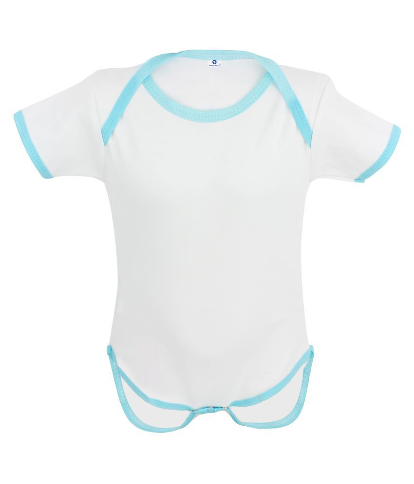 Neska Moda Baby Boys And Baby Girls White And Blue Bodysuits For 6 To 9 Months JS46