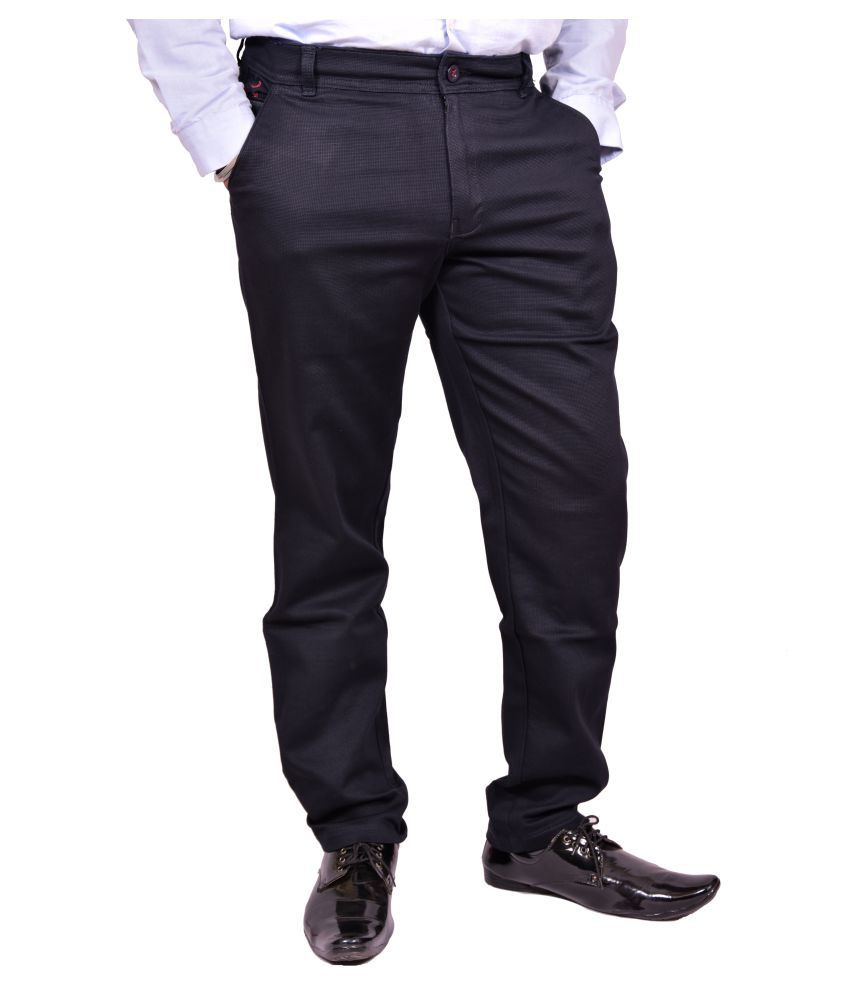 Just Trousers Dark Blue Slim -Fit Flat Chinos