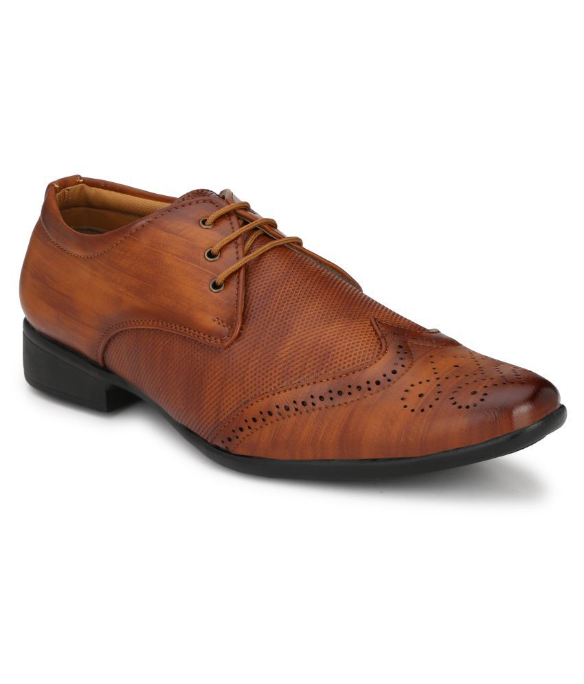 MLS Derby Artificial Leather Tan Formal Shoes