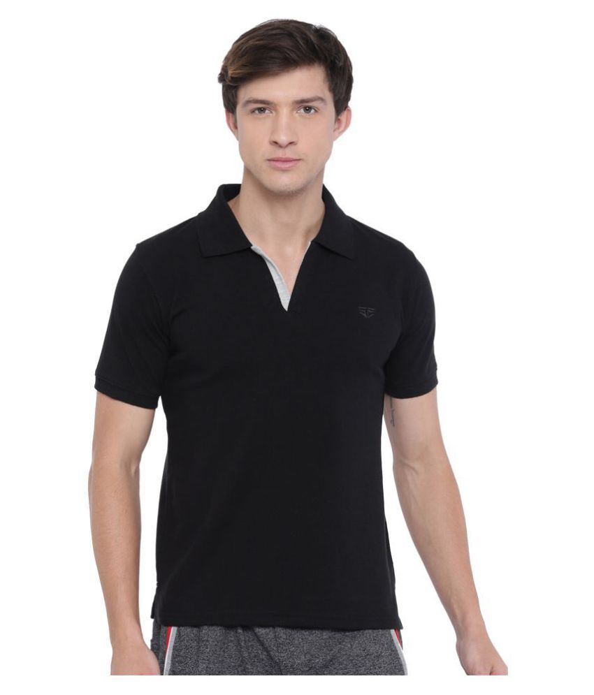 Fifty Two Black Slim Fit Polo T Shirt