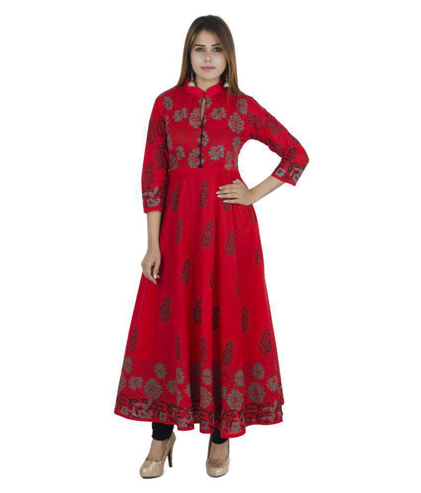 ZOEYAM'S Red Cotton Anarkali Kurti