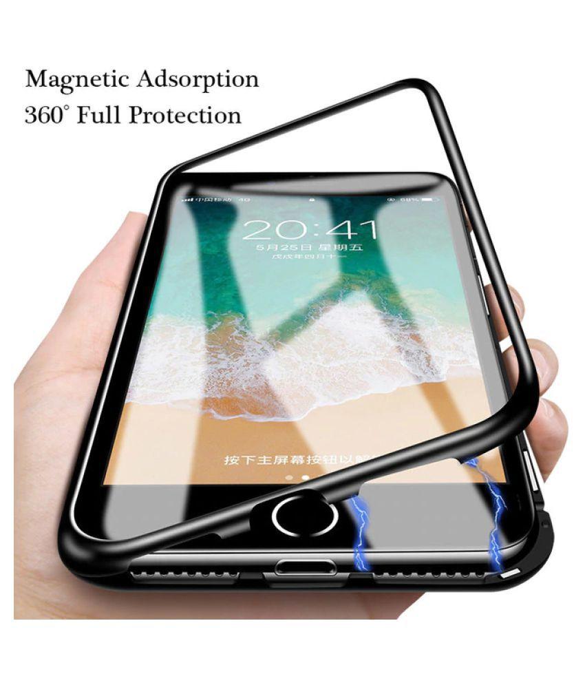 iPhone 7 Plus Magnetic Cover Case Worth IT - Black Original Magnetic Metal Bumper Glass Back Case