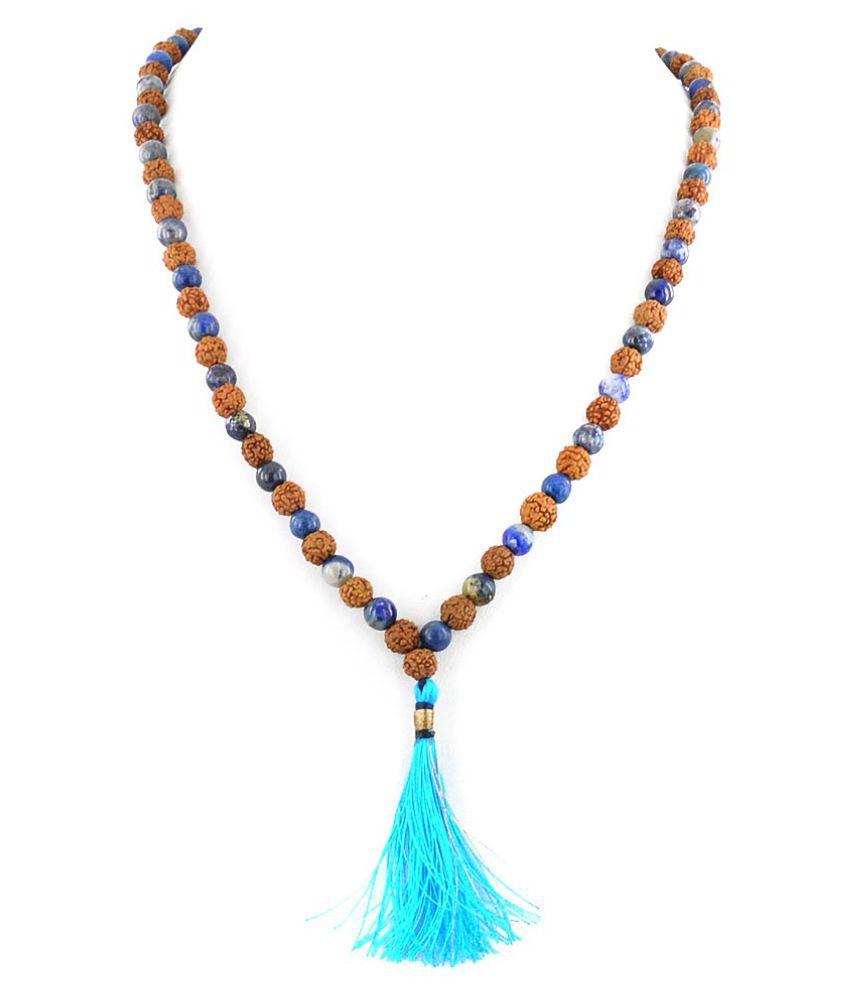 Natural Lapis Lazuli Gemstone with 5 Mukhi Rudraksha Mala