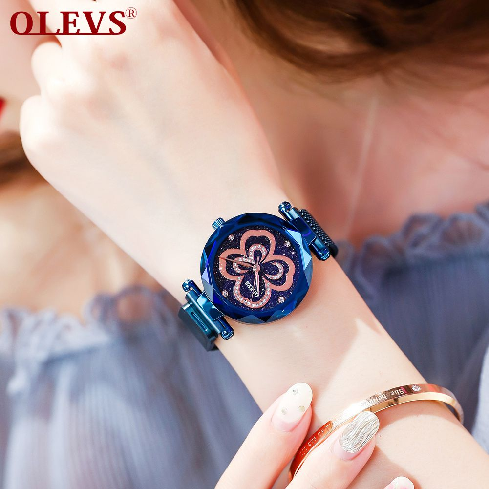 OLEVS waterproof gift clover star fortune married love beautiful women watches