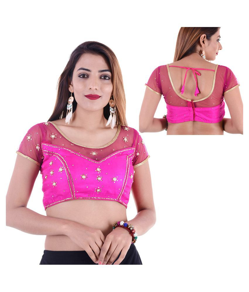 Amazing Pink Silk Readymade with Pad Blouse