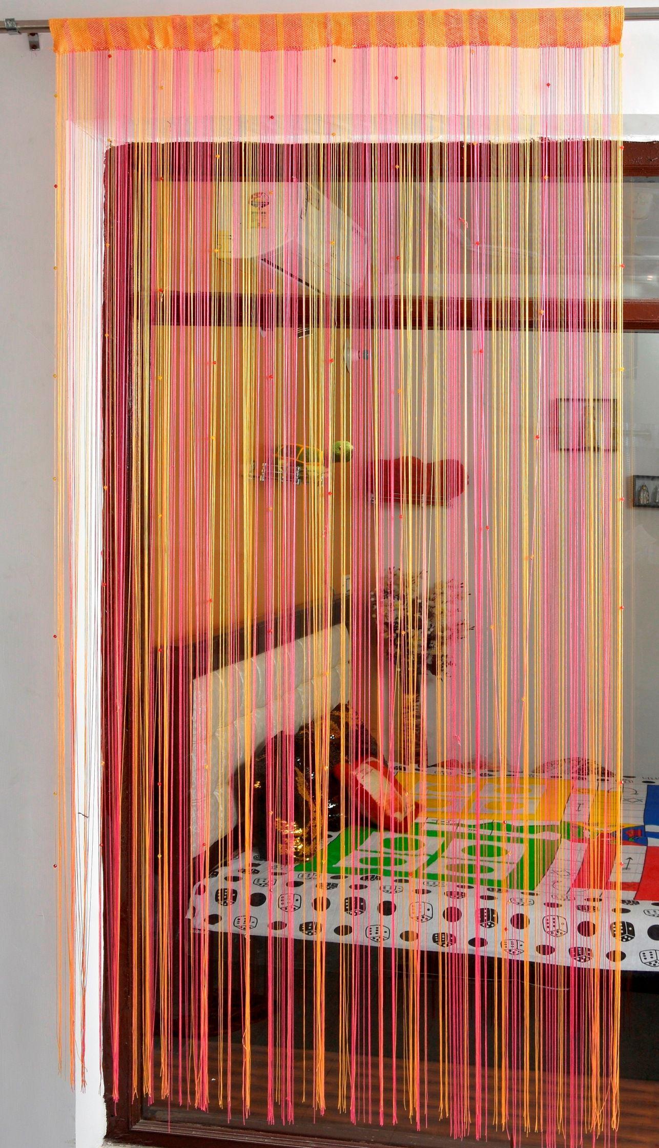 Ace International Exports Single Door Semi-Transparent Rod Pocket Polyester Curtains Pink