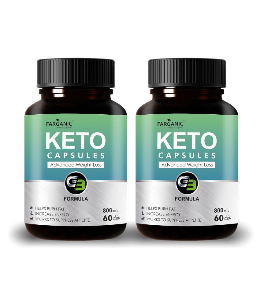 FARGANIC Keto Capsules  PACK OF 2 Weight Loss Supplem 120 Capsules 120 gm Unfalvoured Vitamins Capsule Pack of 2