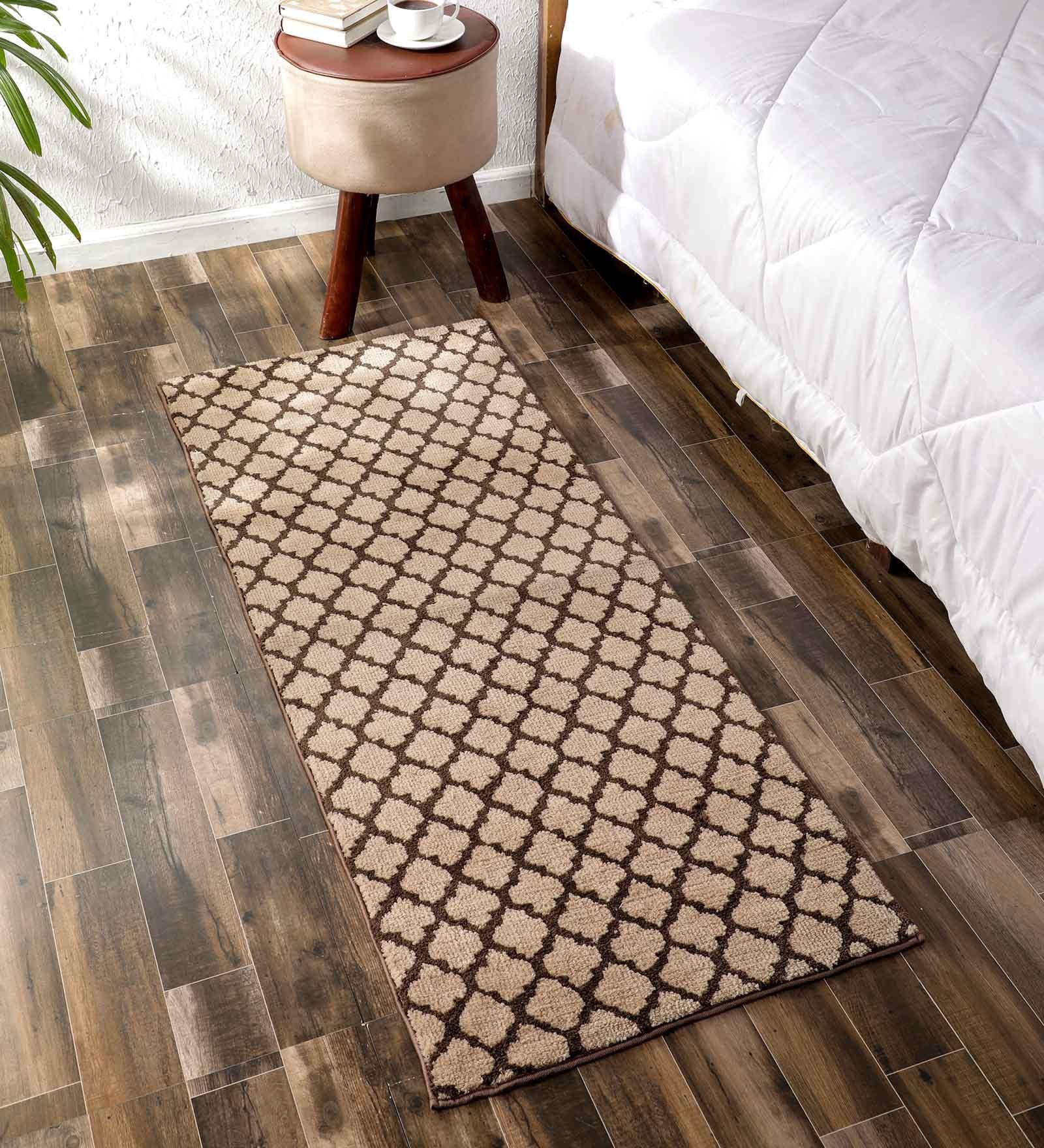 Flooring India Light Beige & Coffee Polyester Jewel Helix 24x60 Inch Anti Skit Runner