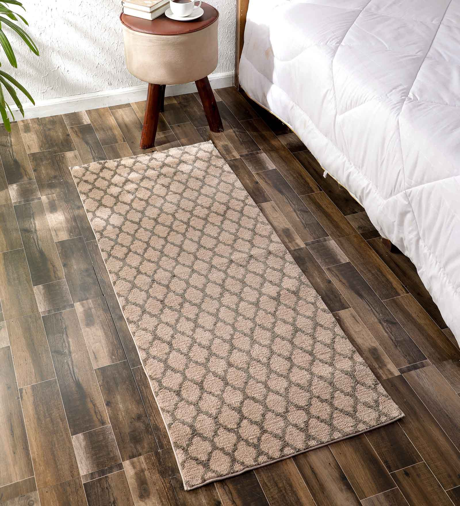 Flooring India Light Beige & Taupe Polyester Jewel Helix 24x60 Inch Anti Skit Runner