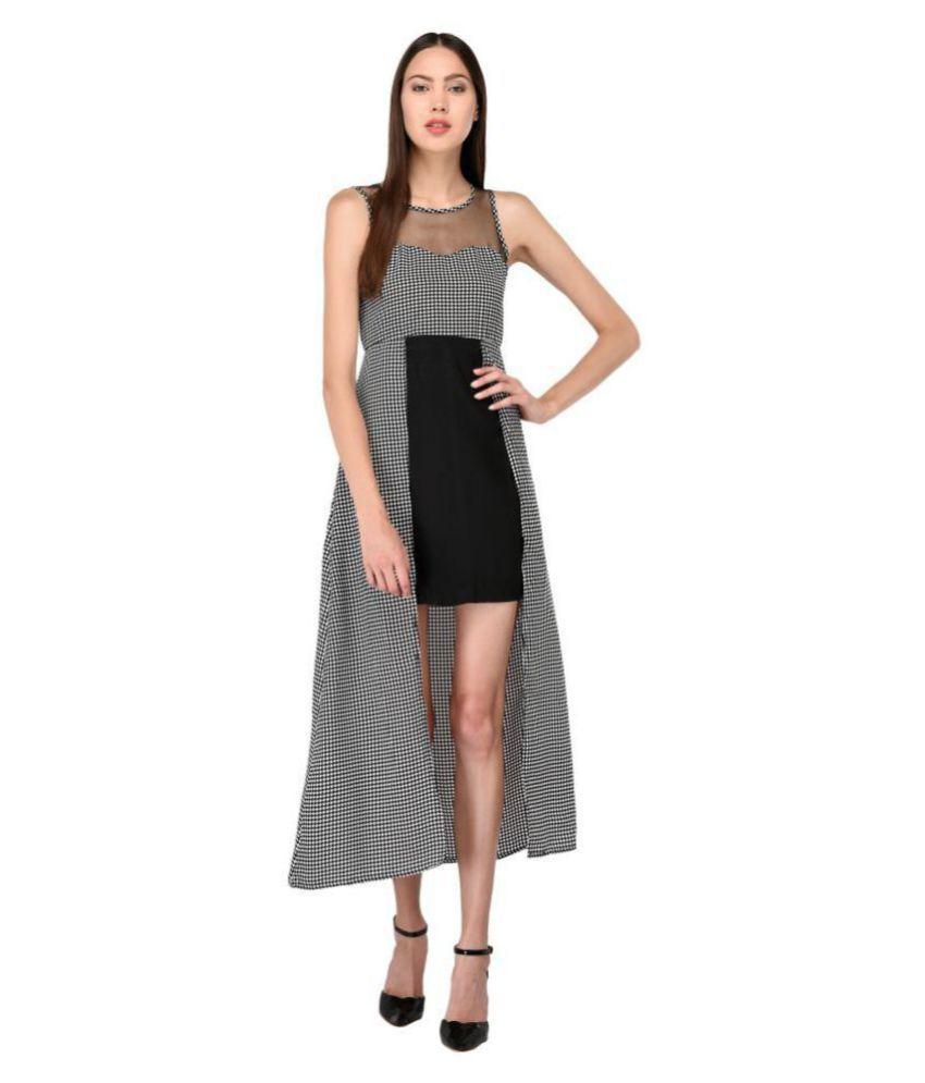 Triraj Poly Crepe Black Asymmetric dress