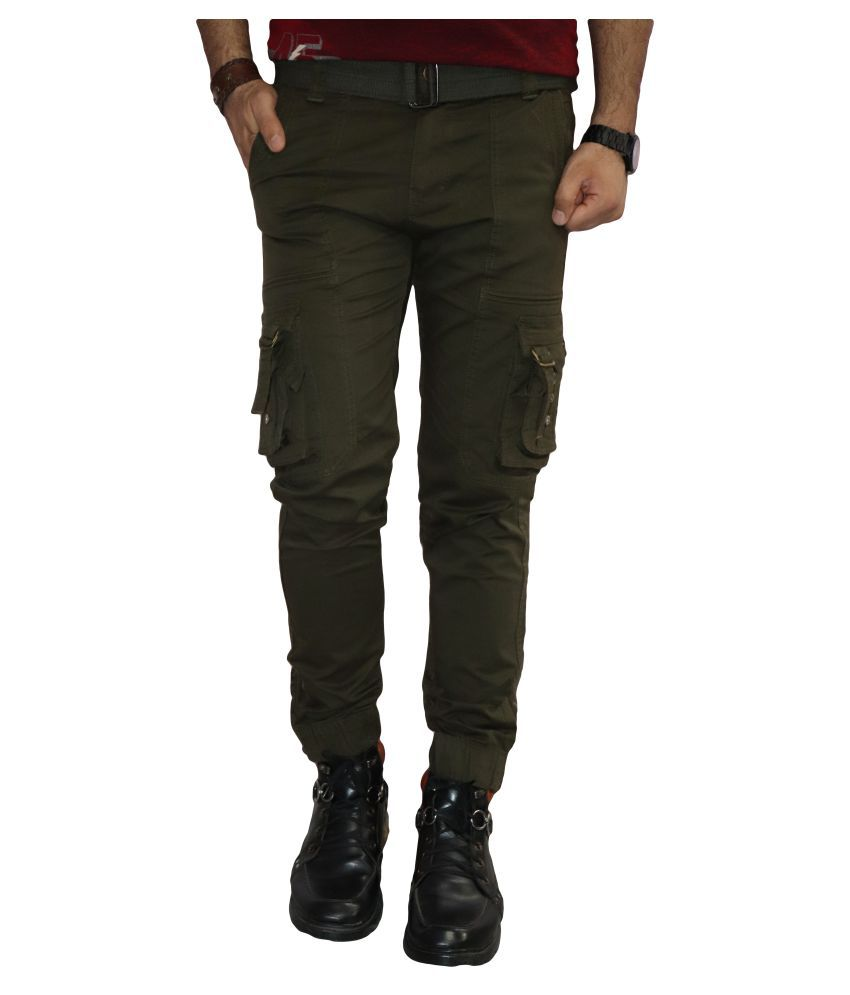 Urban Legends Green Regular -Fit Pleated Cargos