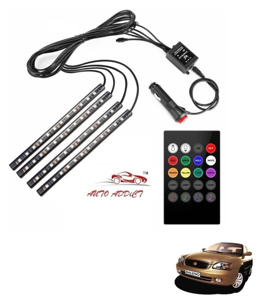 Auto Addict Car Atmosphere LED Lights 4pcs 48 LED DC 12V Multicolor Music Car Strip Light Interior LED Under Dash Lighting Kit without Sound Active Function and Wireless Remote Control For Maruti Suzuki Baleno