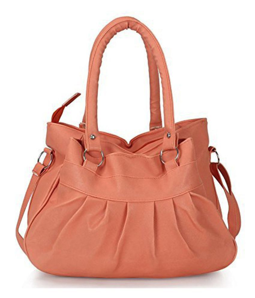 pipines Peach P.U. Shoulder Bag