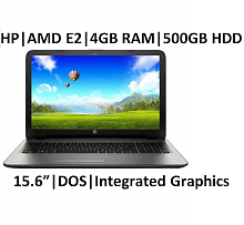 HP 15-bg003au Notebook (AMD APU E2- 4GB RAM- 500GB HDD- 39.62 cm (15.6)- DOS) (Silver)
