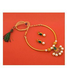 183a71c69 Quick View. Piah Alloy Green Collar Traditional Gold Plated Necklaces Set
