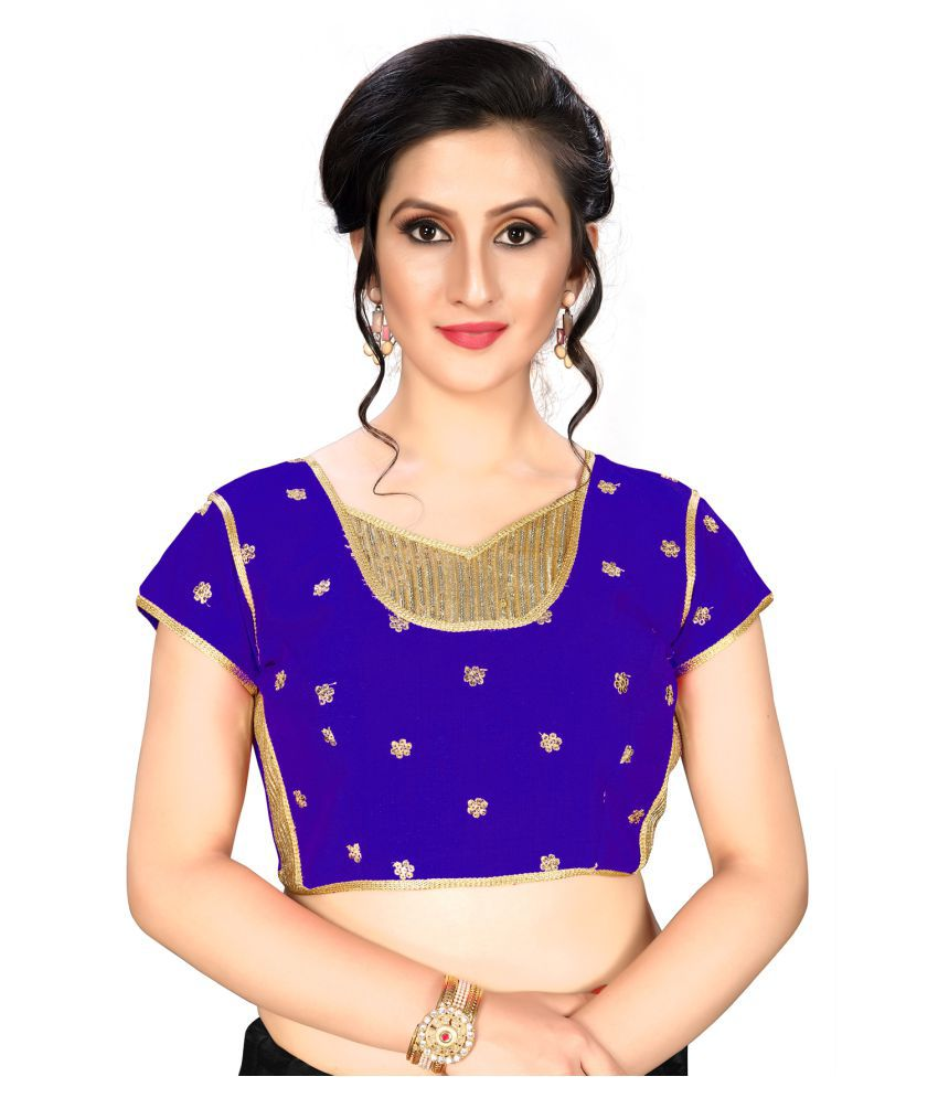 Shubh Sanidhya Blue Silk Readymade with Pad Blouse