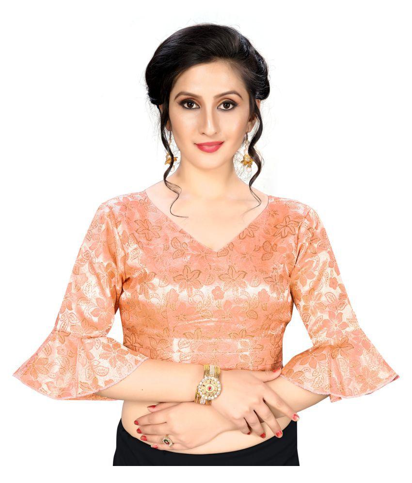 Shubh Sanidhya Peach Jacquard Readymade with Pad Blouse