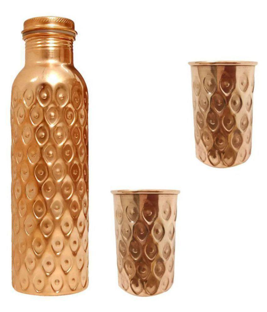 Radhika designer Brown 1000 mL Copper Water Bottle set of 3