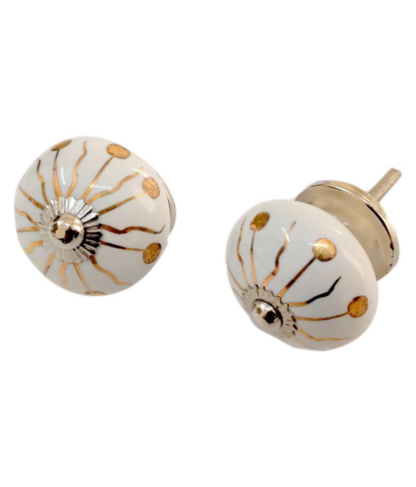 Artshai Round Golden Handpainted Ceramic Door Knobs, Pulls, Cabinate Handle. Set of 6 pcs