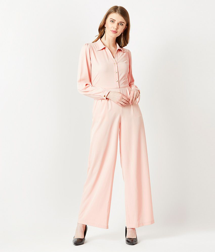 Miss Chase Pink Crepe Jumpsuit