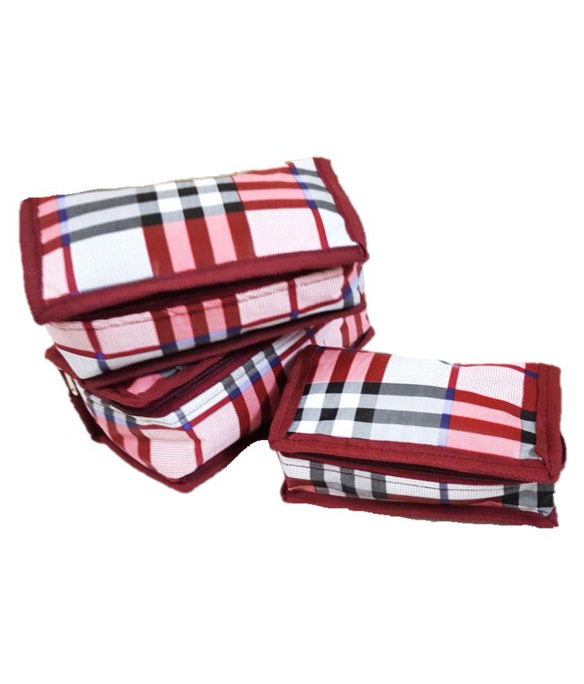 ForeTrend Maroon Vanity Kit and pouches - 3 Pcs