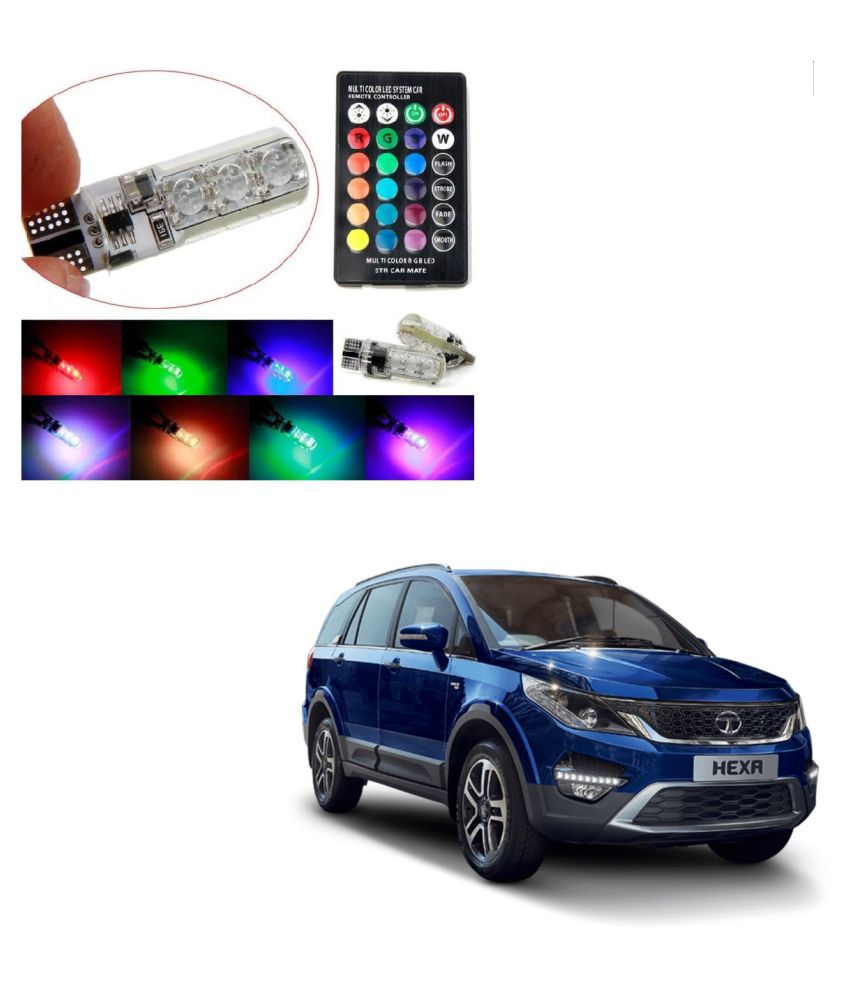 Auto Addict Car 5050 T10 6 SMD Remote Control 12V RGB Car Reading Wedge Lights for Auto Tail Light,Side,Parking,Door,Parking,Indicator,Socket Lighting Bulb 2 Pcs For Tata Hexa
