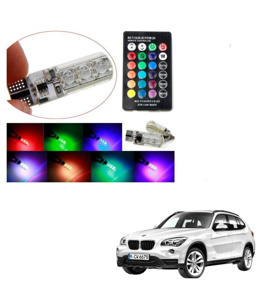 Auto Addict Car 5050 T10 6 SMD Remote Control 12V RGB Car Reading Wedge Lights for Auto Tail Light,Side,Parking,Door,Parking,Indicator,Socket Lighting Bulb 2 Pcs For BMW X1