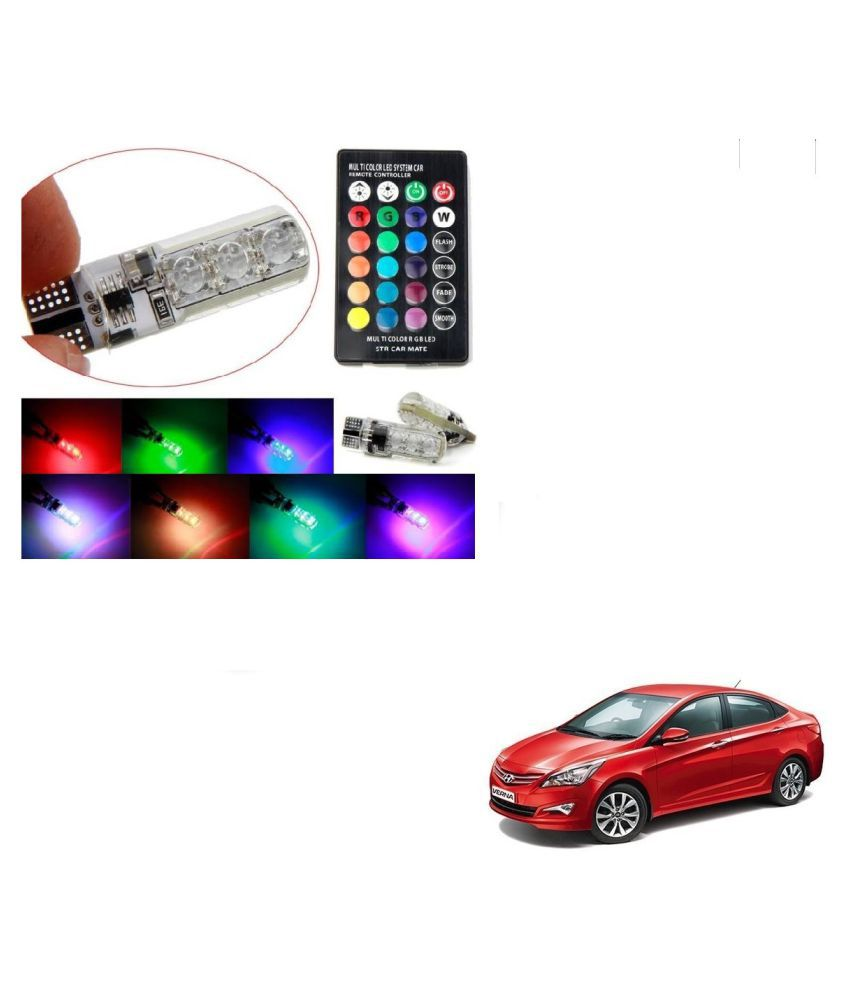 Auto Addict Car 5050 T10 6 SMD Remote Control 12V RGB Car Reading Wedge Lights for Auto Tail Light,Side,Parking,Door,Parking,Indicator,Socket Lighting Bulb 2 Pcs For Hyundai Fluidic Verna 4s