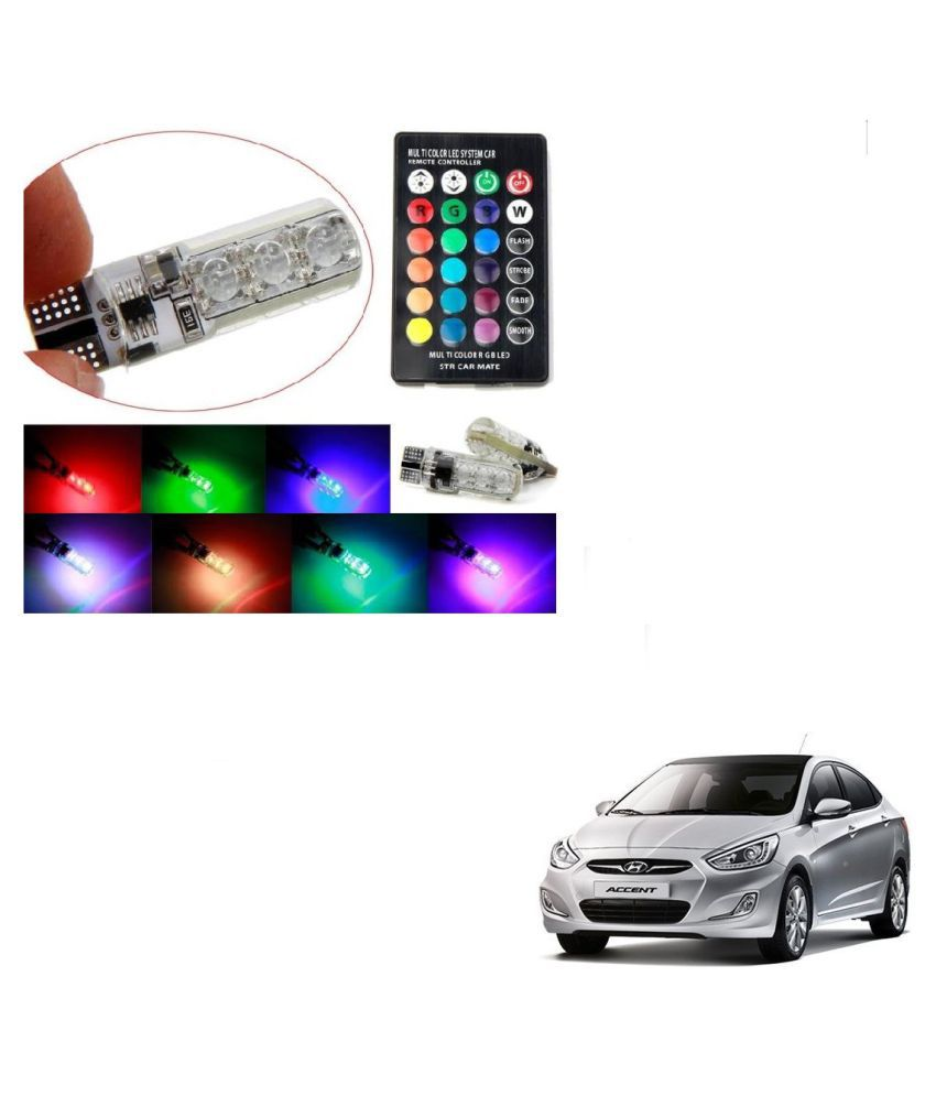 Auto Addict Car 5050 T10 6 SMD Remote Control 12V RGB Car Reading Wedge Lights for Auto Tail Light,Side,Parking,Door,Parking,Indicator,Socket Lighting Bulb 2 Pcs For Hyundai Accent