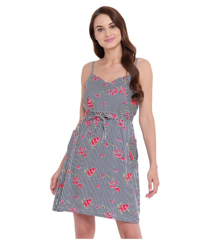 Texco Polyester Multi Color Fit And Flare Dress