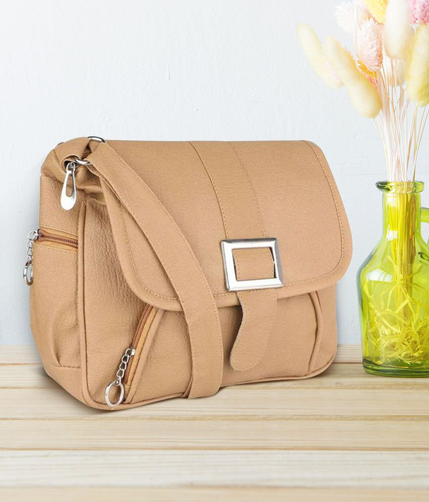 9be338c60d6 Stylish Beige Faux Leather Shoulder Sling bag by Sr Sales - Buy ...