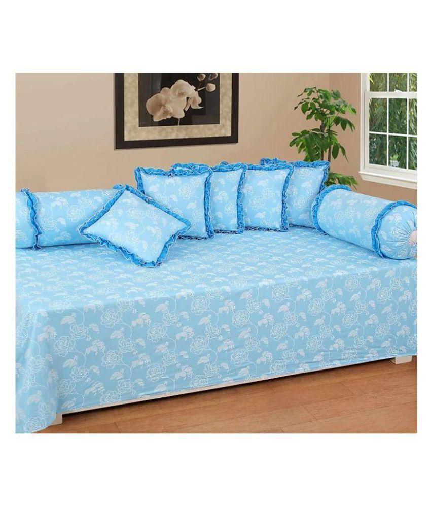 HomeStore-YEP Cotton Blue Floral Diwan Set 8 Pcs
