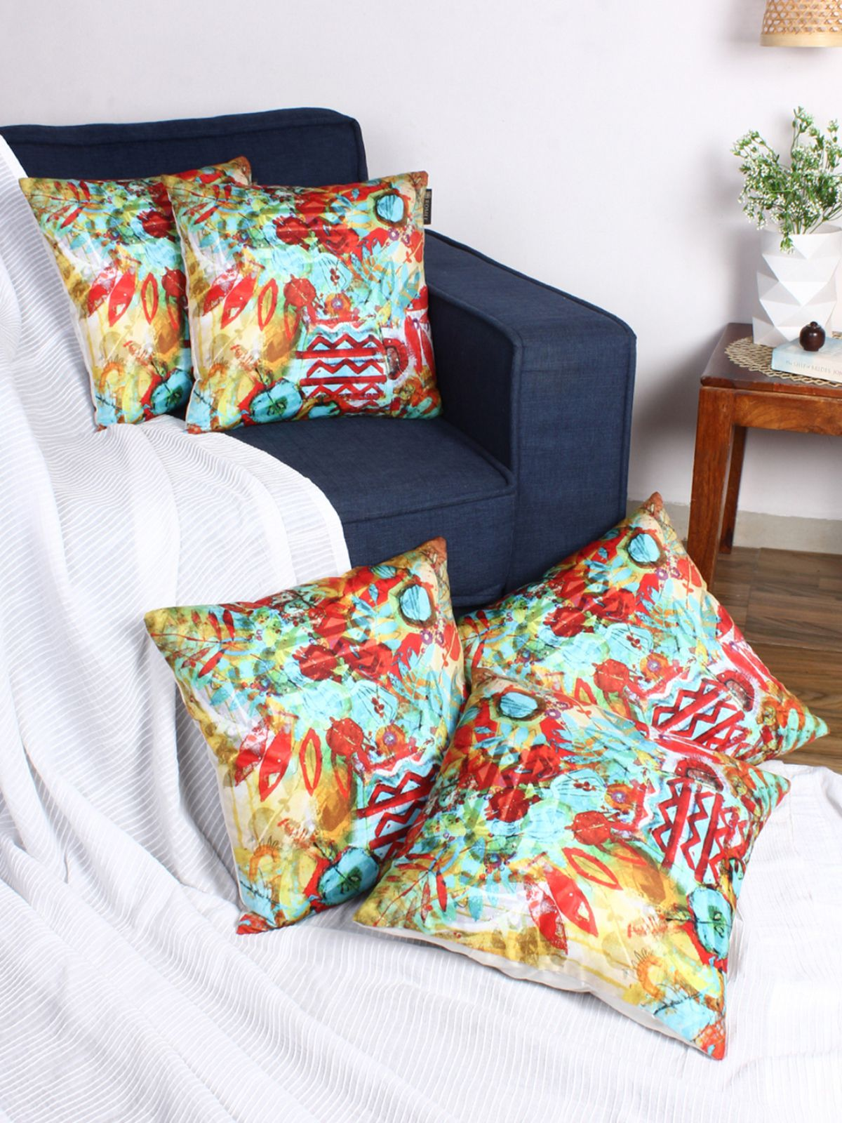 Romee Set Of 5 Velvet Cushion Covers 40x40 Cm 16x16 Buy Online At Best Price Snapdeal