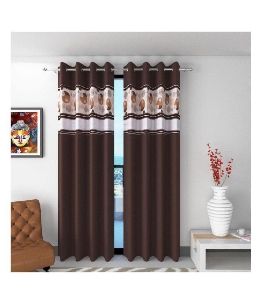 WACO CREATION Set of 2 Door Semi-Transparent Eyelet Polyester Curtains Coffee