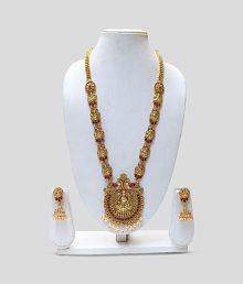 Lookethnic Laxmi Temple Pendant Long Artificial Antique Necklace Set