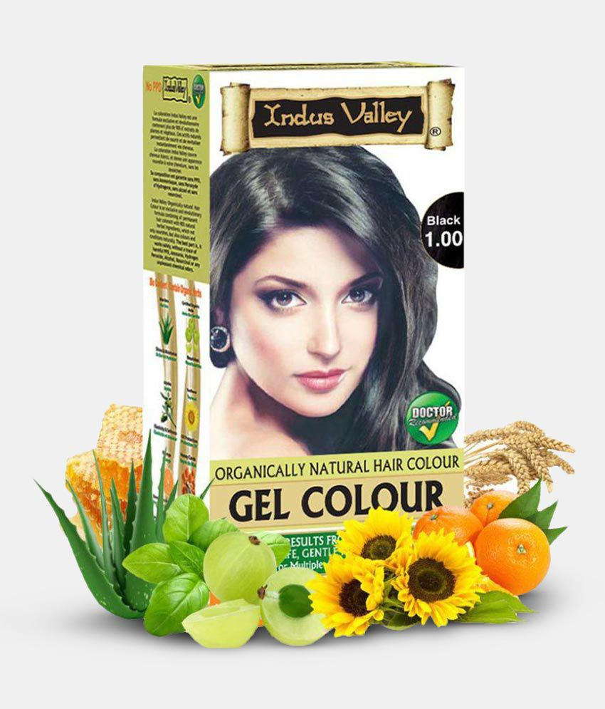 Indus Valley Organically Natural Gel Black Permanent Hair Color Black 1.0 220 ml