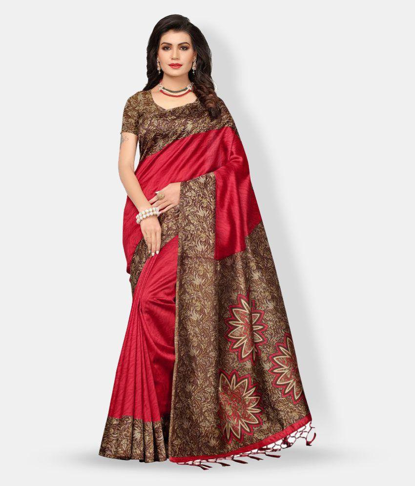 cc789e66cd Ishin Brown and Red Silk Saree - Buy Ishin Brown and Red Silk Saree Online  at Low Price - Snapdeal.com