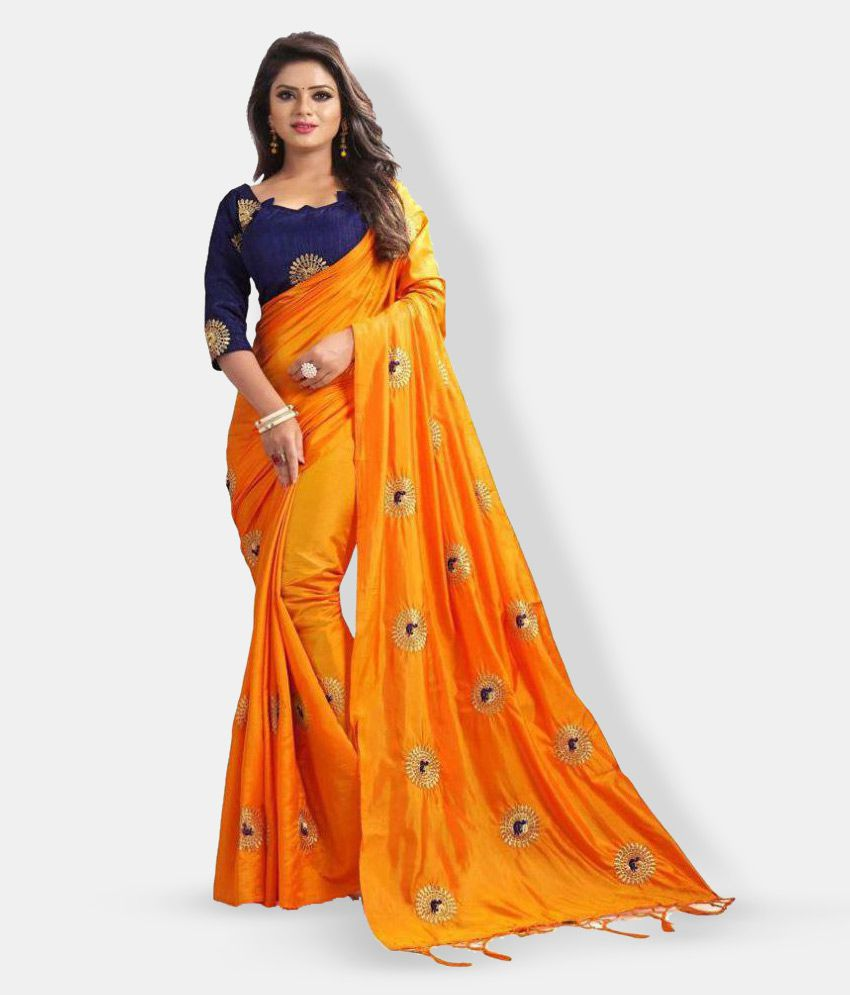 0494383e3a9 offline selection Orange,Yellow,Blue Silk Saree