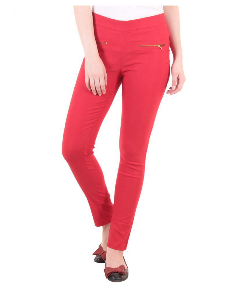 Fasha Cotton Lycra Jeggings - Red