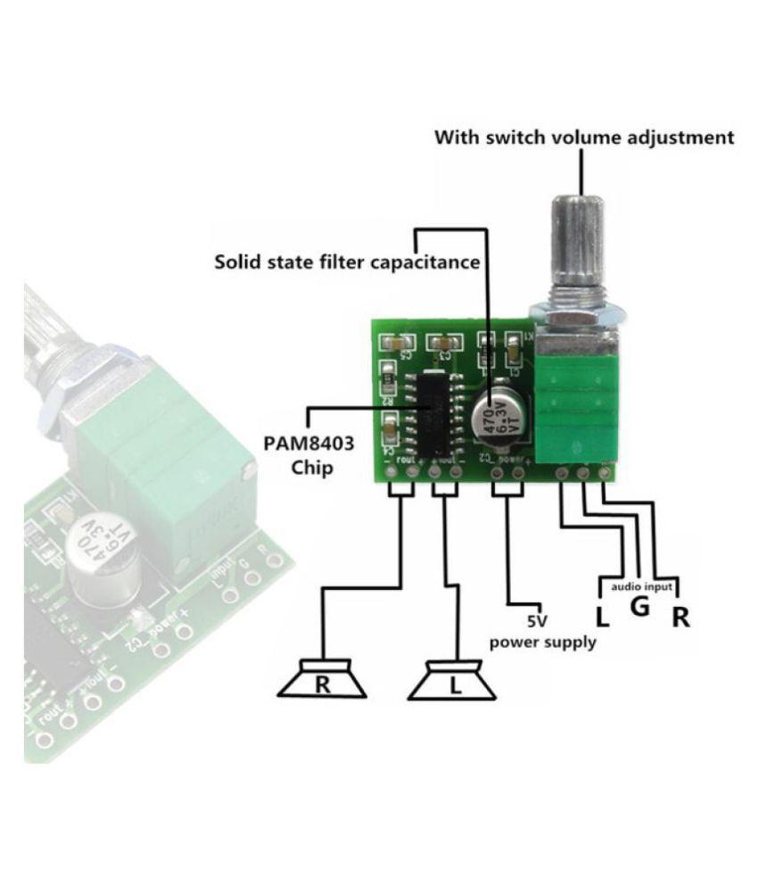 PAM8403 Mini Digital Audio Amplifier Board 5V USB Power 2-Channels 3W Class  D