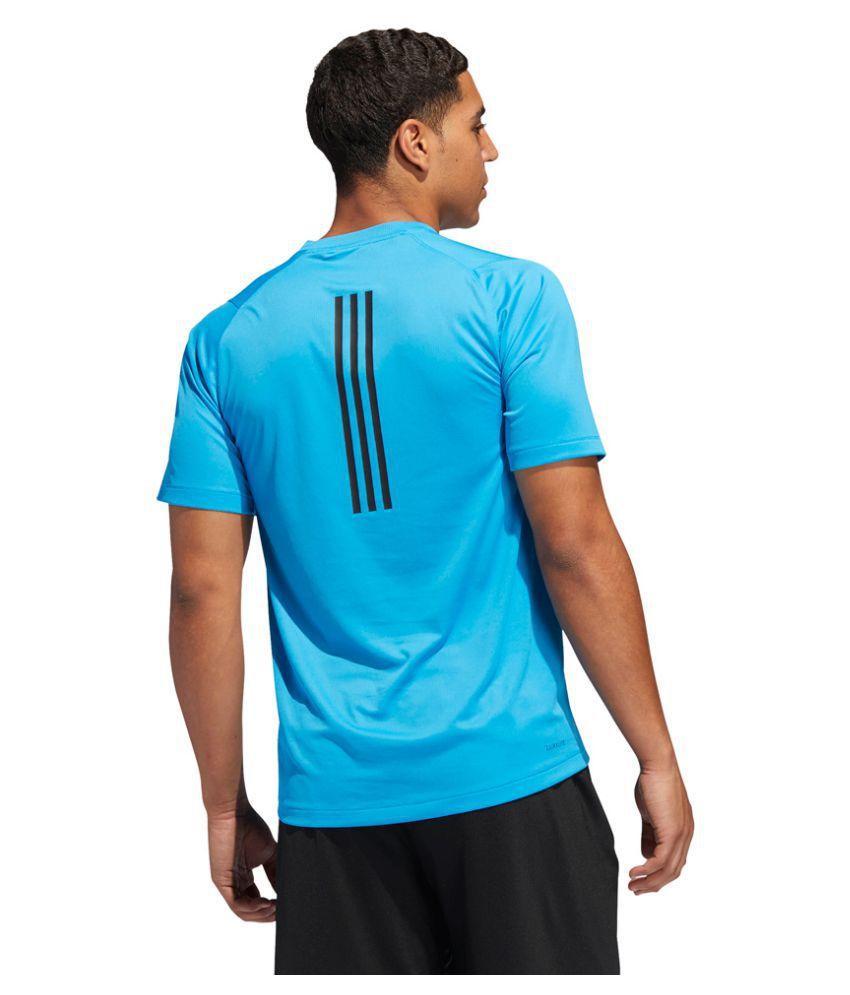 Adidas Navy Polyester Lycra T-Shirt