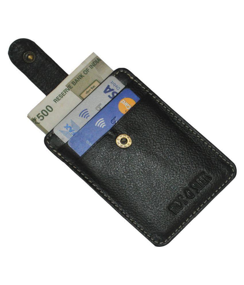 Hide&Sleek RFID Protected Genuine Black Leather Long Card Holder